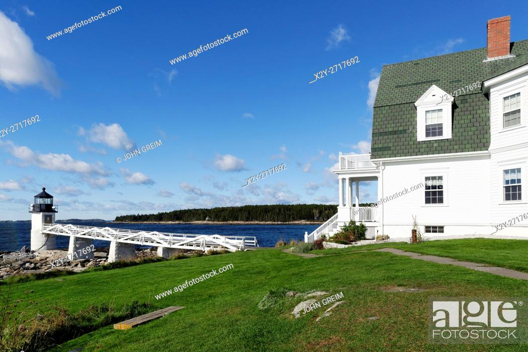Stock Photo: The Marshall Point Lighthouse and Museum, Port Clyde, Maine, USA.