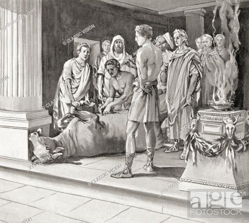 Stock Photo: Auspices examining sacrifices. Auspices or Haruspices were soothsayers and diviners who interpreted the will of the gods from the entrails of animals offered in.