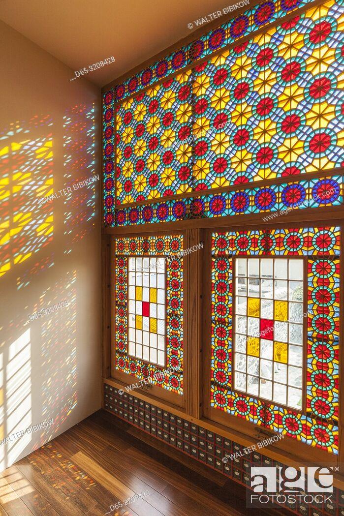 Stock Photo: Azerbaijan, Sheki, Winter Palace, 18th century, traditional stained glass window.