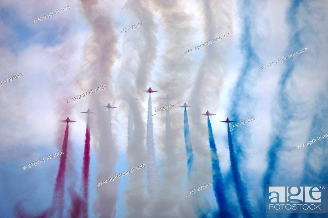 Stock Photo: Red Arrows in Monte Carlo.
