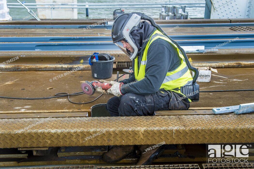 Stock Photo: Repairing rail tracks in Moerdijkbrug (Moerdijk bridge). Netherlands.