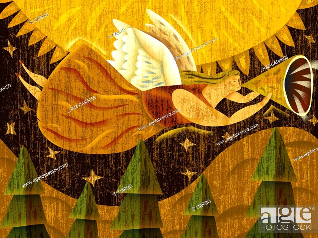 Stock Photo: A winged angel flying while playing a horn instrument.