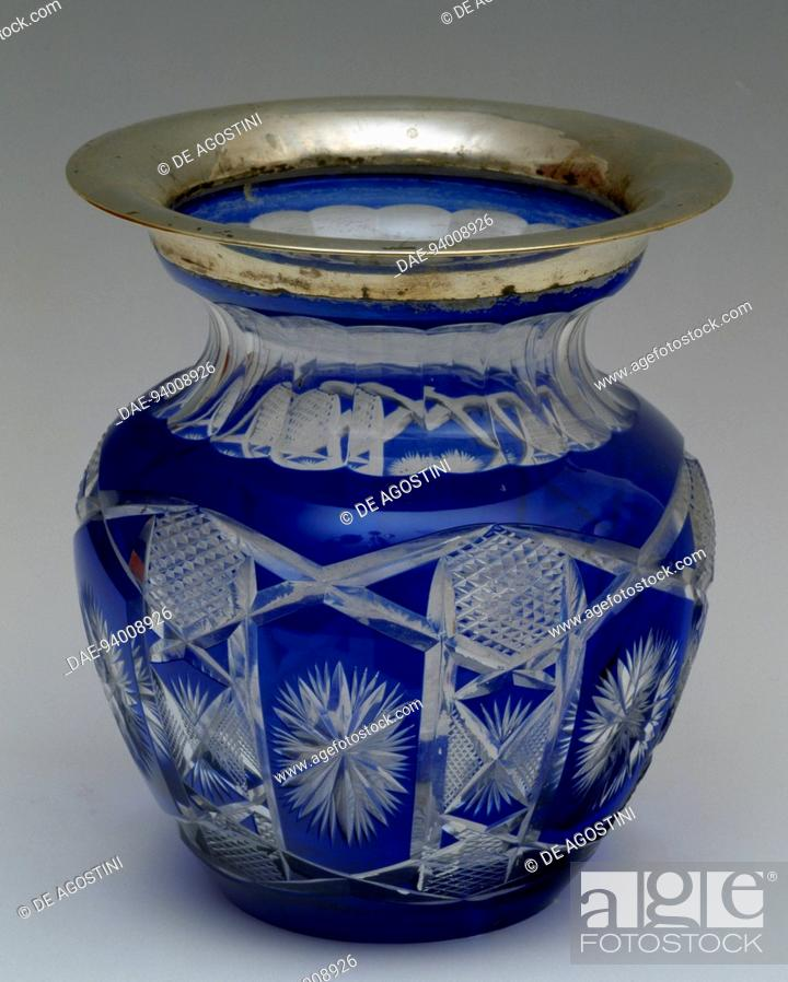 Blue Cut Crystal Vase With Silver Border 1930 1939 Italy 20th