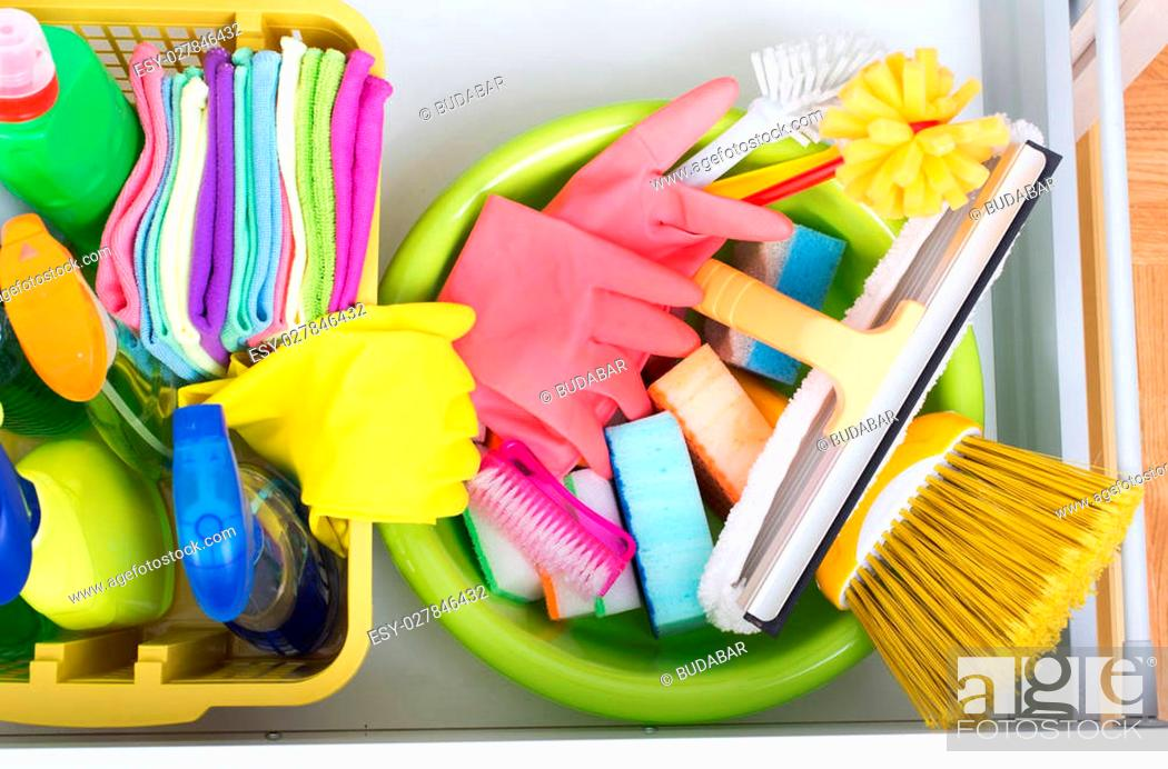 Top View Of Cleaning Supplies And Equipment Stored In Drawer In