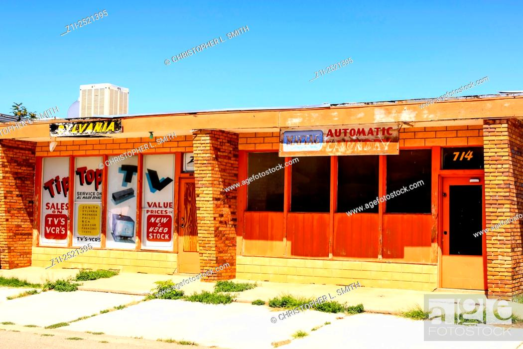 Stock Photo: Old abandoned TV store on Route 66 in Tucumcari NM.