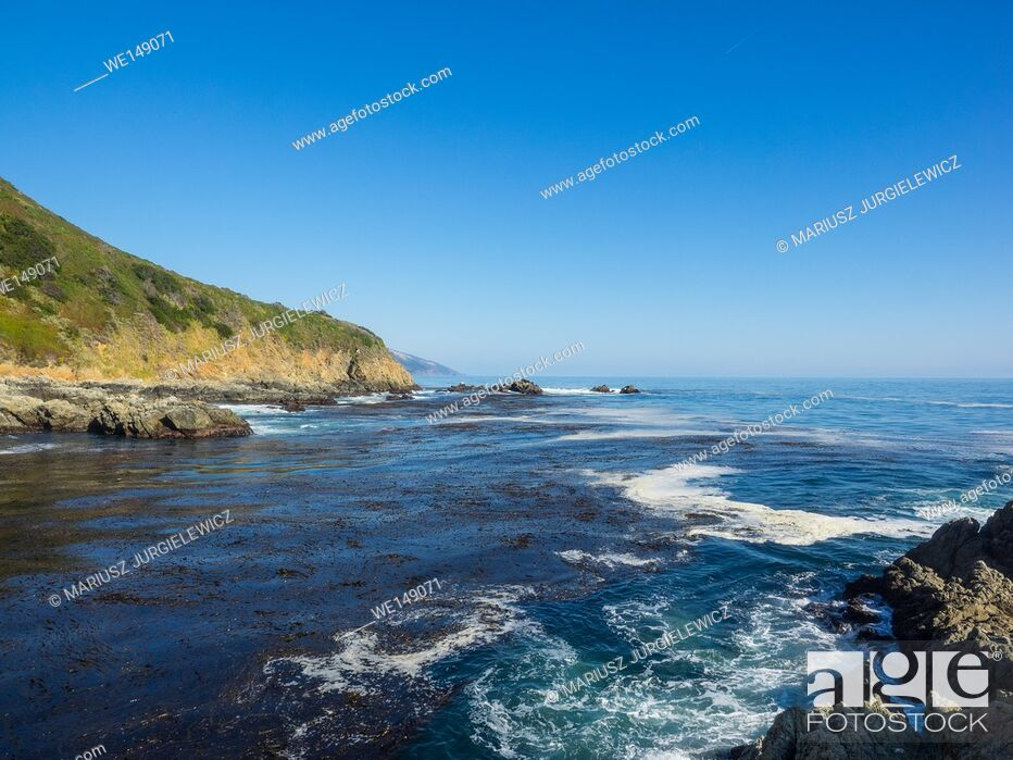 Stock Photo: Partington Cove holds a special piece of Big Sur history. Much of the tan bark and lumber was shipped out of this cove. There is a tunnel that goes through the.