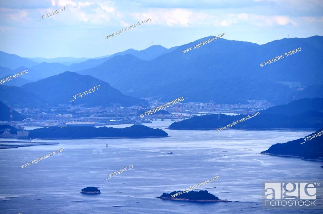 Stock Photo: Seto inland Sea in Japan as seen from Mt. Misen on Itsukushima island,Japan,Asia.
