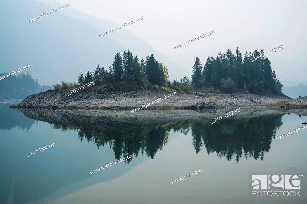 Stock Photo: Trees on field reflecting on calm lake in foggy weather, Whistler, British Columbia, Canada.