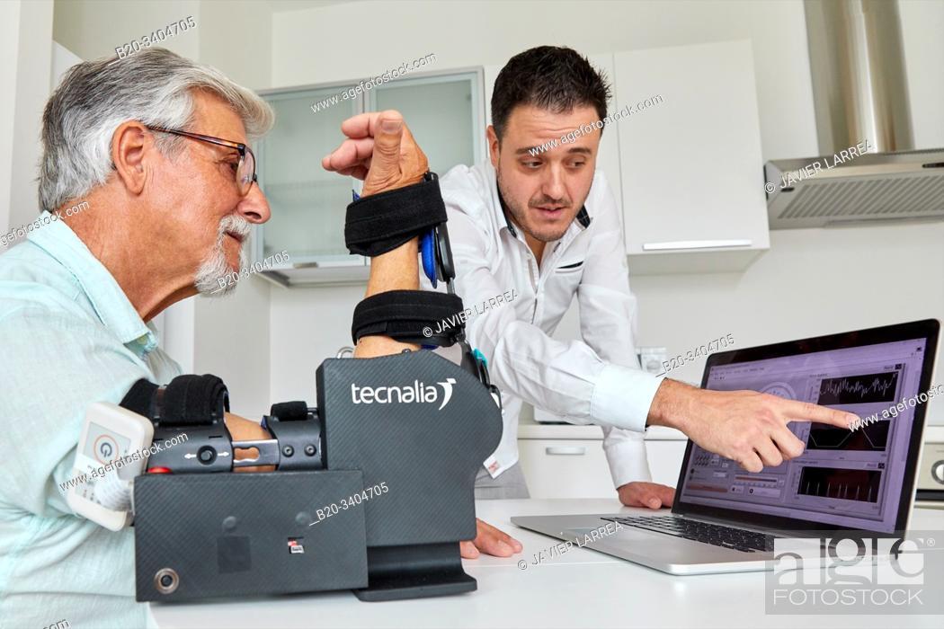 Stock Photo: RECODO, Active elbow rehabilitation device, Unit of Health Technology, Technology Centre, Tecnalia Research & Innovation, Donostia, San Sebastian, Gipuzkoa.