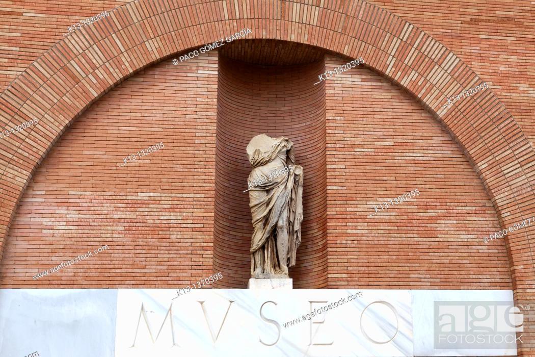 Stock Photo: Entrance to Museo Nacional de Arte Romano de Mérida (National Museum of Roman Art of Merida). Mérida, Badajoz province, Spain.
