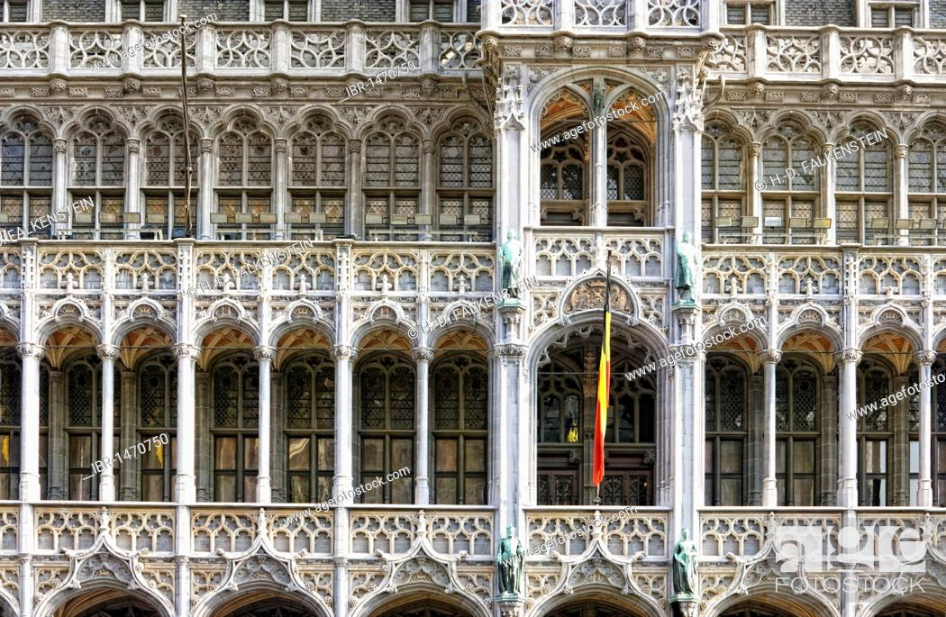 Stock Photo: Town hall on the Grote Markt, Grand Place, Brussels, Belgium, Europe.