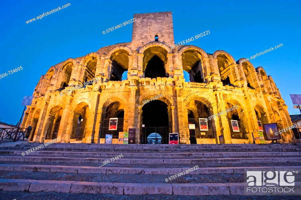 Stock Photo: The Roman Arena in Arles, south of France, in the Bouches-du-Rhône department, of which it is a subprefecture, in the former province of Provence.