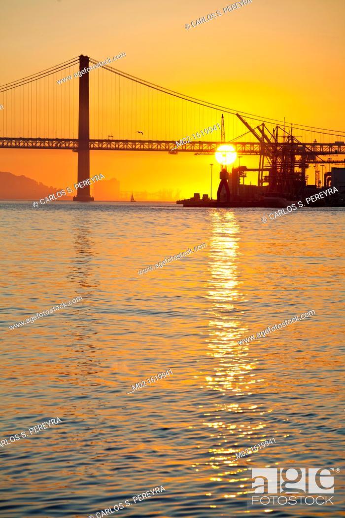 Stock Photo: 25th April Bridge inTagus river, Lisbon, Portugal.
