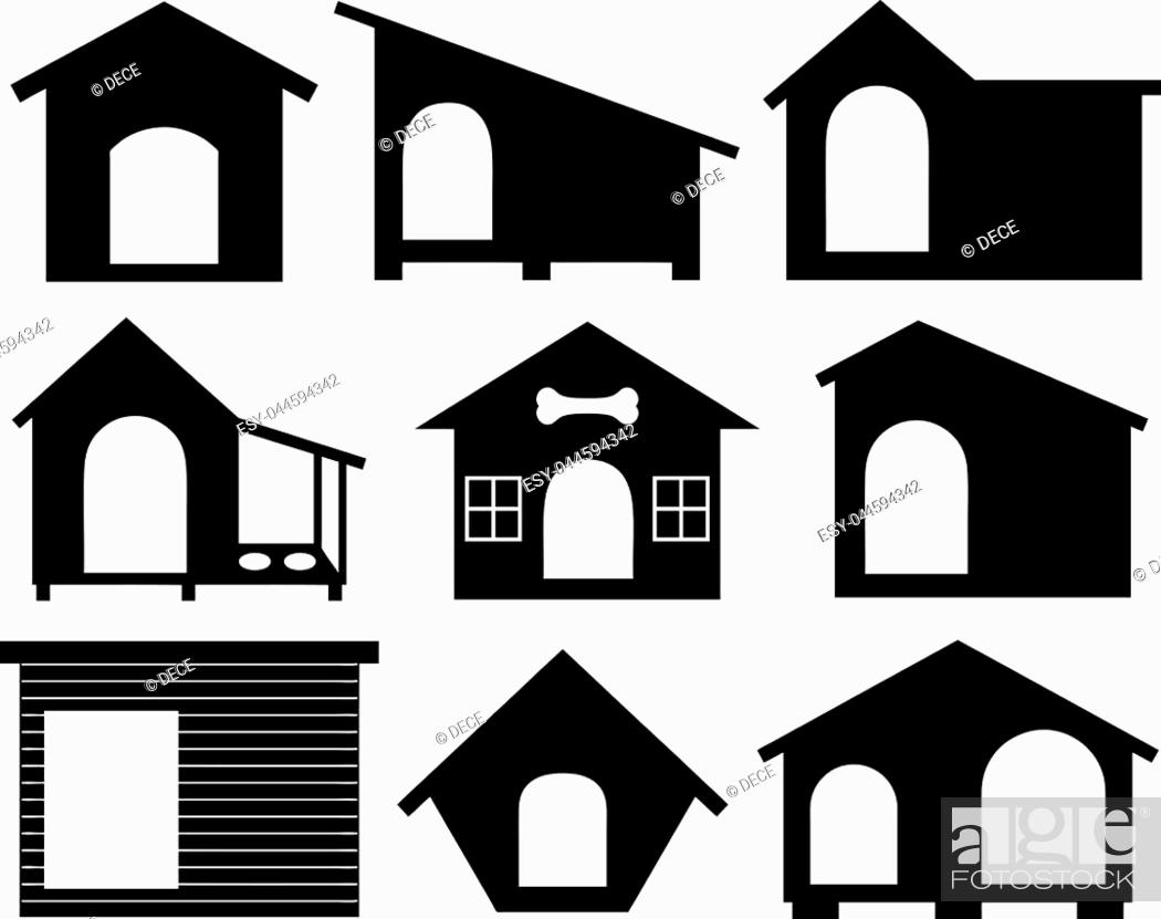 Stock Vector: Set of different dog houses isolated on white.
