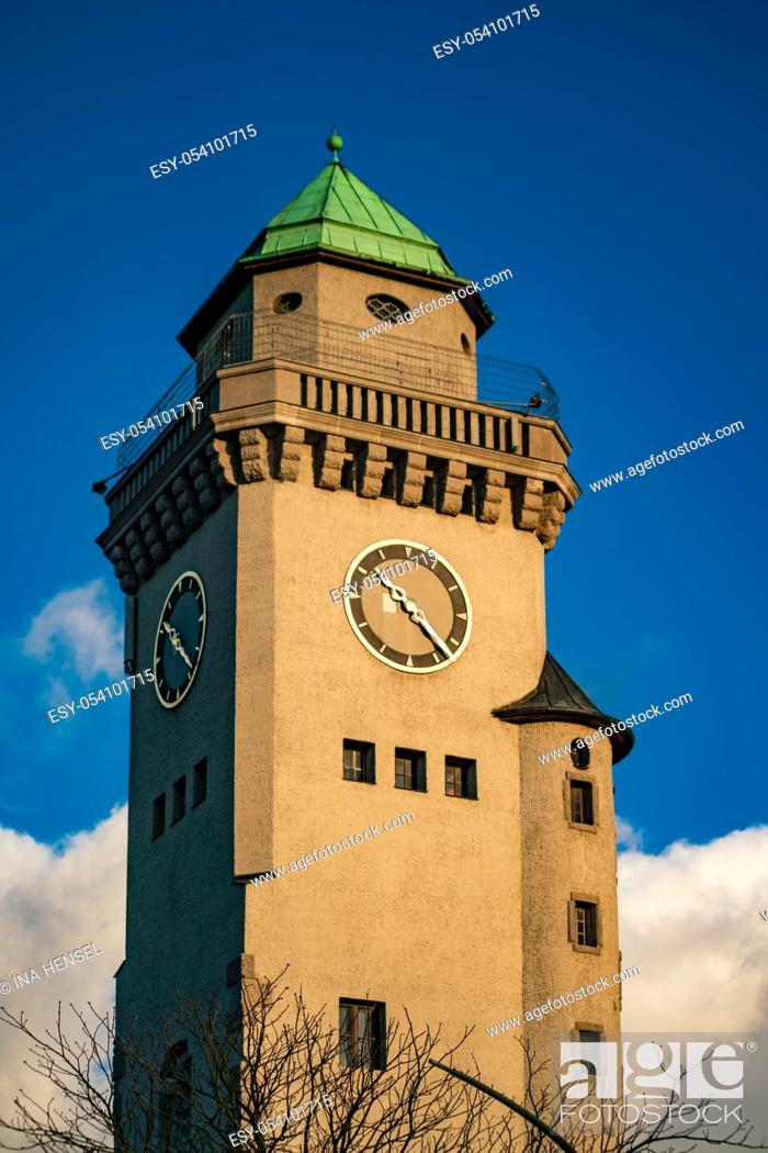 Stock Photo: art noveau Kasino tower in Berlin suburb Frohnau with bright blue skies.