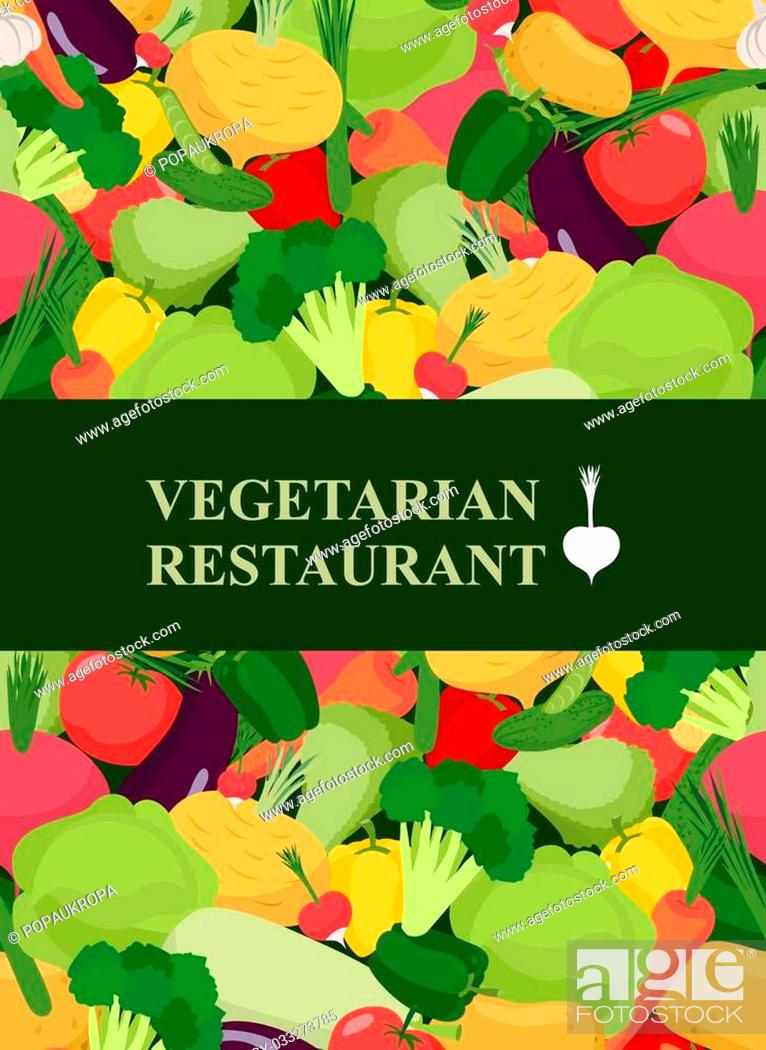 Stock Vector: Fresh vegetables background. Concept design template to menu vegetarian restaurant and cafe . Vector illustration.