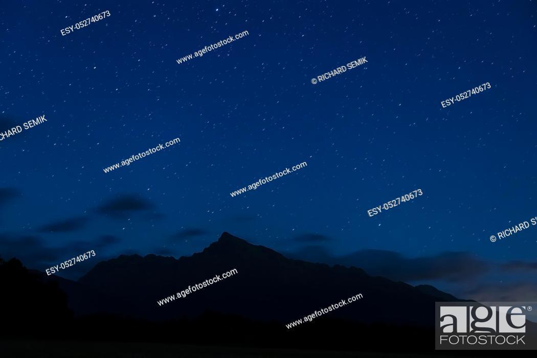 Stock Photo: night sky with Krivan, Hight Tatras, Slovakia.