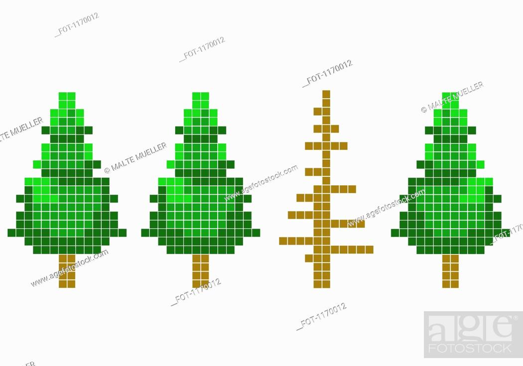 Stock Photo: 8-bit style trees with one dead tree.