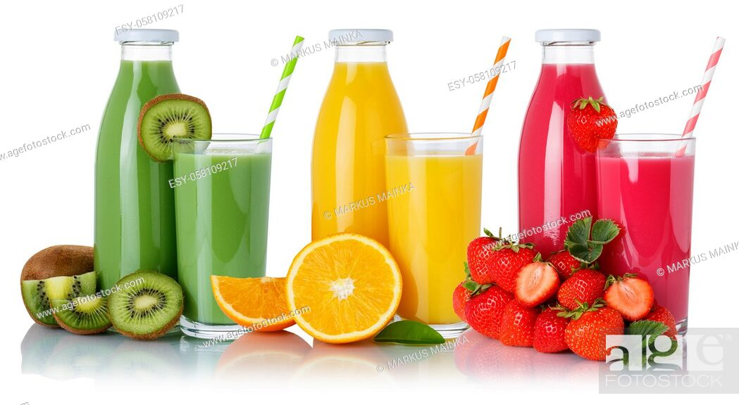 Stock Photo: Fruit juice drink green smoothies orange juices glass and bottle isolated on a white background.
