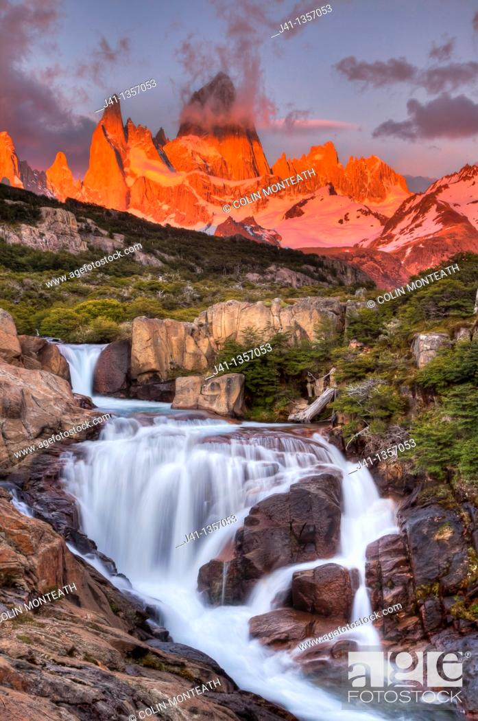 Stock Photo: FitzRoy waterfall at dawn under famous rock peak Cerro FitzRoy  El Chalten , Parque Nacional Los Glaciares, Patagonia, Argentina.