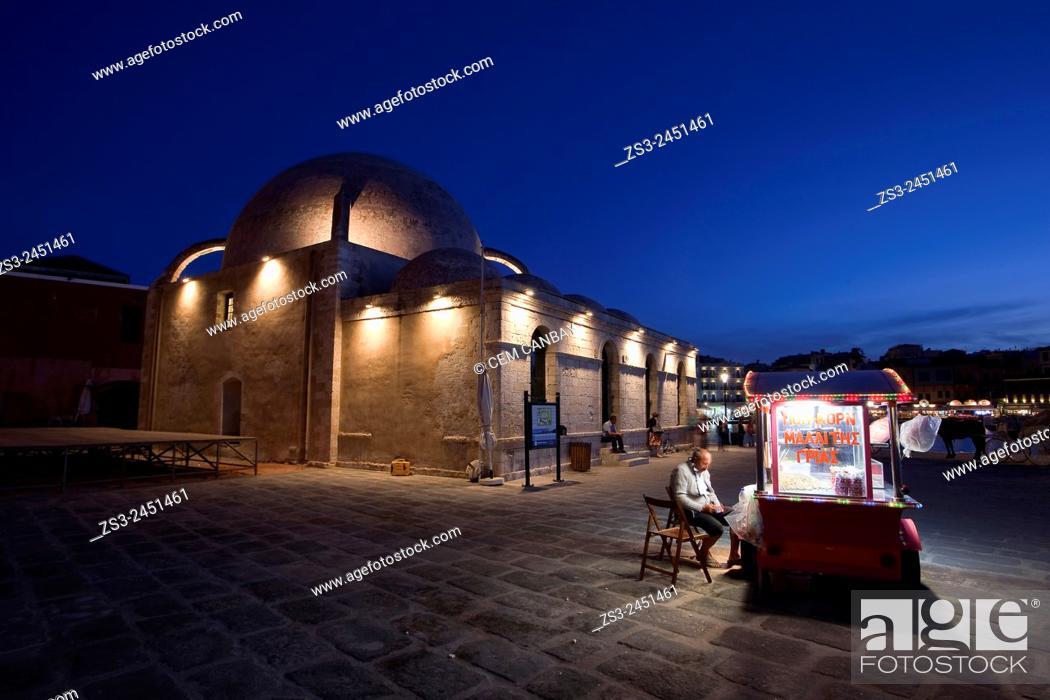 Stock Photo: Hassan Pasha Mosque at the Venetian harbor near the sea by night, Chania, Crete, Greek Islands; Greece, Europe.