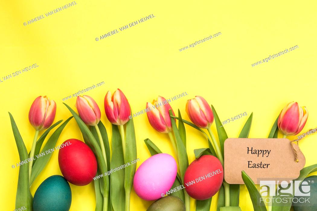 Stock Photo: Easter eggs painted and tulips with yellow background and text happy easter april concept.