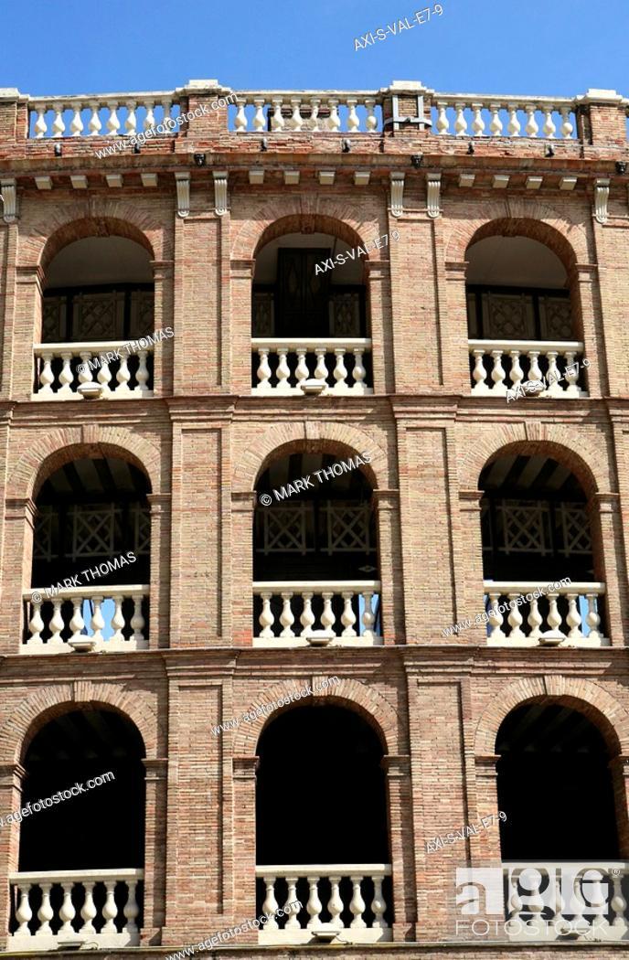 Stock Photo: Plaza de Toros Bull Ring exterior, Valencia, Spain.