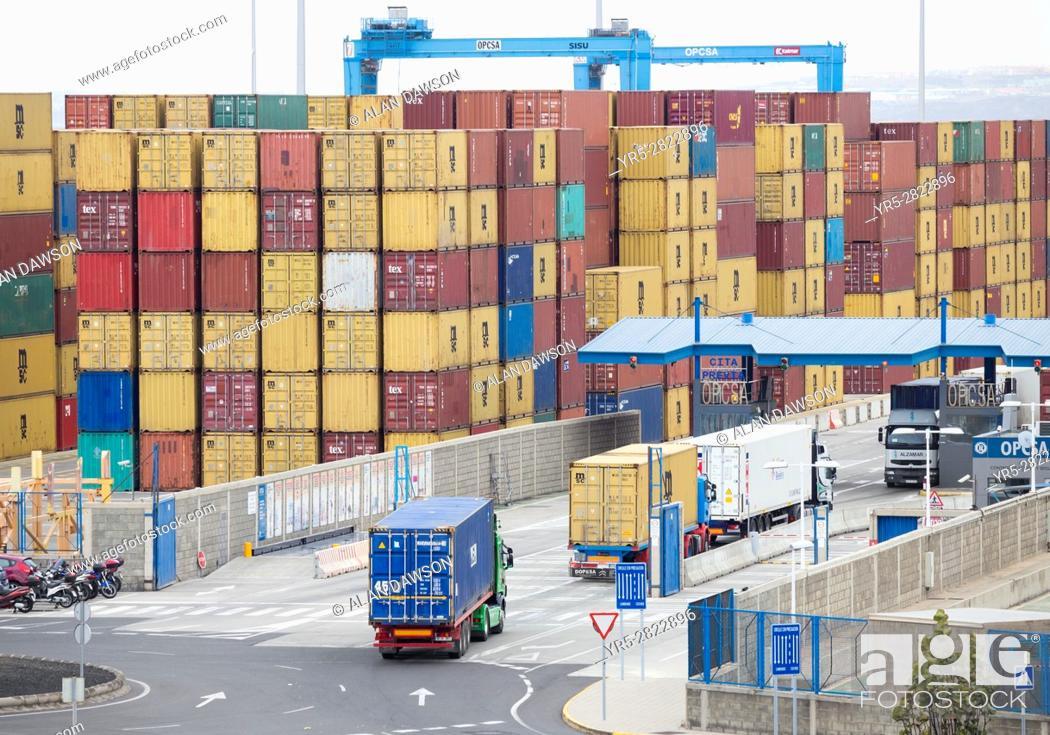 Stock Photo: Shipping container terminal in Las Palmas port. Puerto de La Luz, Gran Canaria, Canary Islands. Spain.