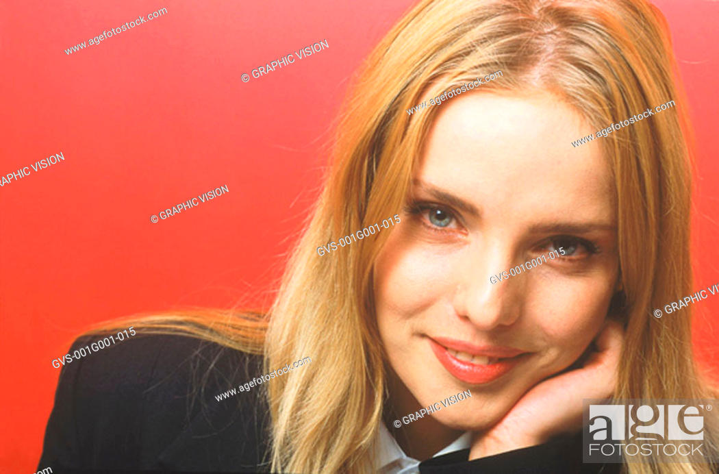 Stock Photo: Portrait of a Young Woman With Long Blonde Hair.