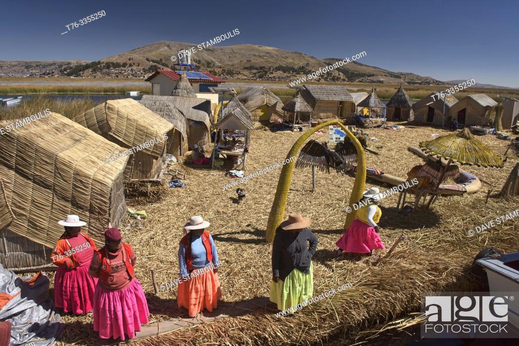 Stock Photo: Uros totora reeds floating island, Lake Titicaca, Puno, Peru.