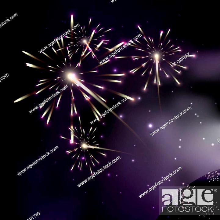 Stock Photo: Fireworks. Galaxy. Milky way stars and star-dust in deep space / cosmos. Stars of a planet and galaxy in a free space. A glorious, rich star forming nebula.
