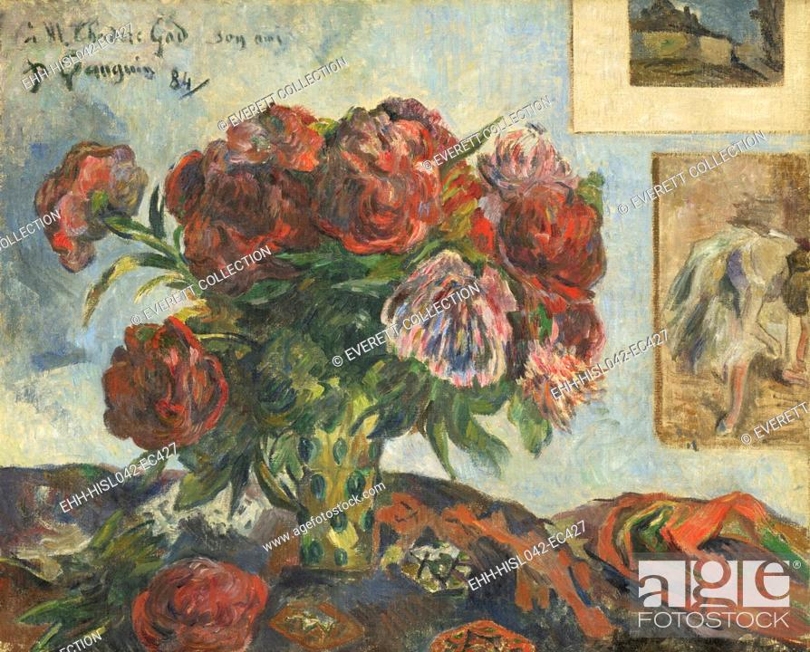 Stock Photo: Still Life with Peonies, by Paul Gauguin, 1884, French Post-Impressionist painting, oil on canvas. This work was painted two years after Gauguin became a full.