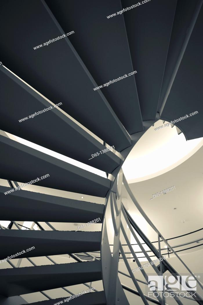 Stock Photo: France, Puy-de-Dome Department, Auvergne Region, Clermont-Ferrand, Old Montferrand, Musee d'Art Roger-Quilliot museum, interior staircase.