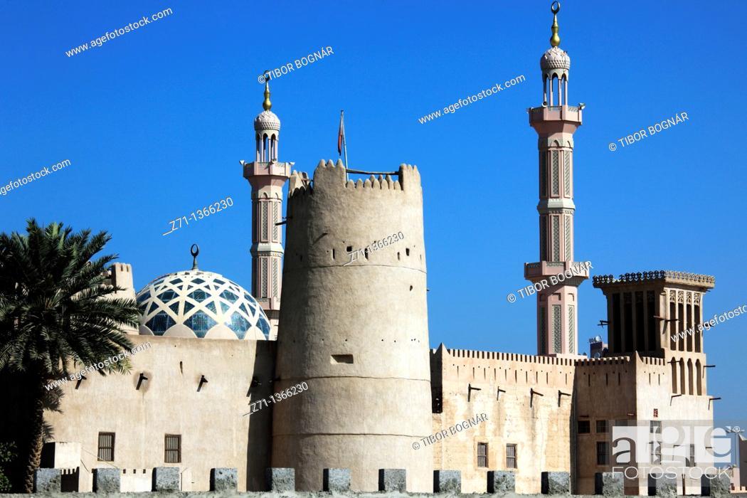 Stock Photo: United Arab Emirates, Ajman, Fort, Mosque,.
