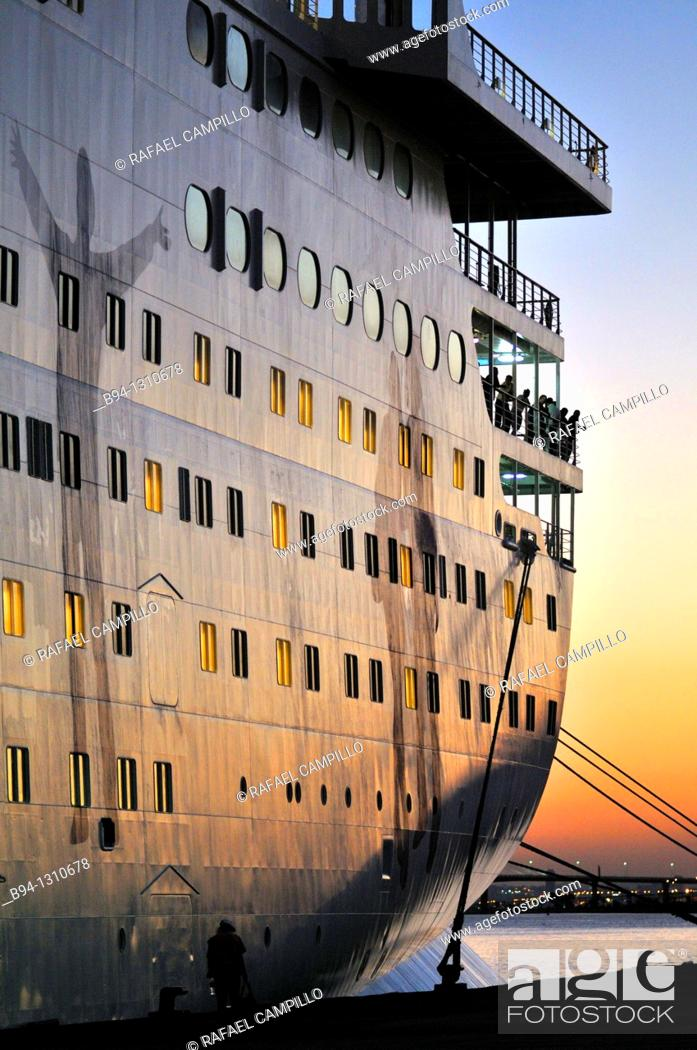 Stock Photo: Cruise ship at La Goulette, Tunis, Tunisia.