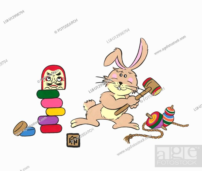 Stock Photo: Rabbit With Dhama Doll.