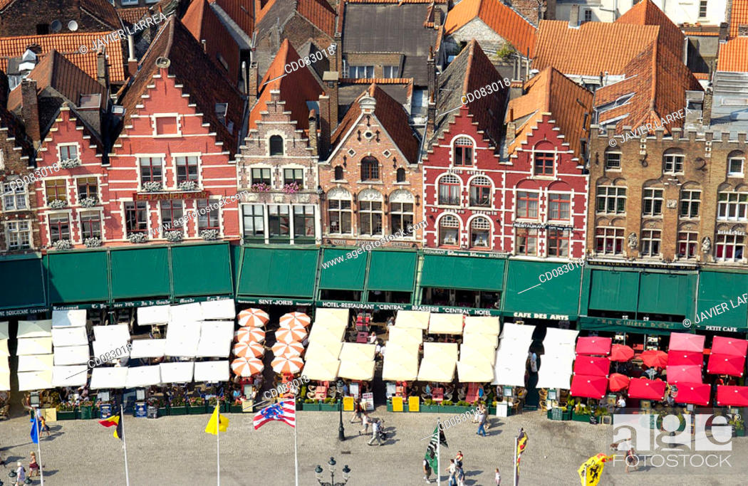 Stock Photo: The Markt (Market Place), view from the Belfry. Brugge. Flanders, Belgium.