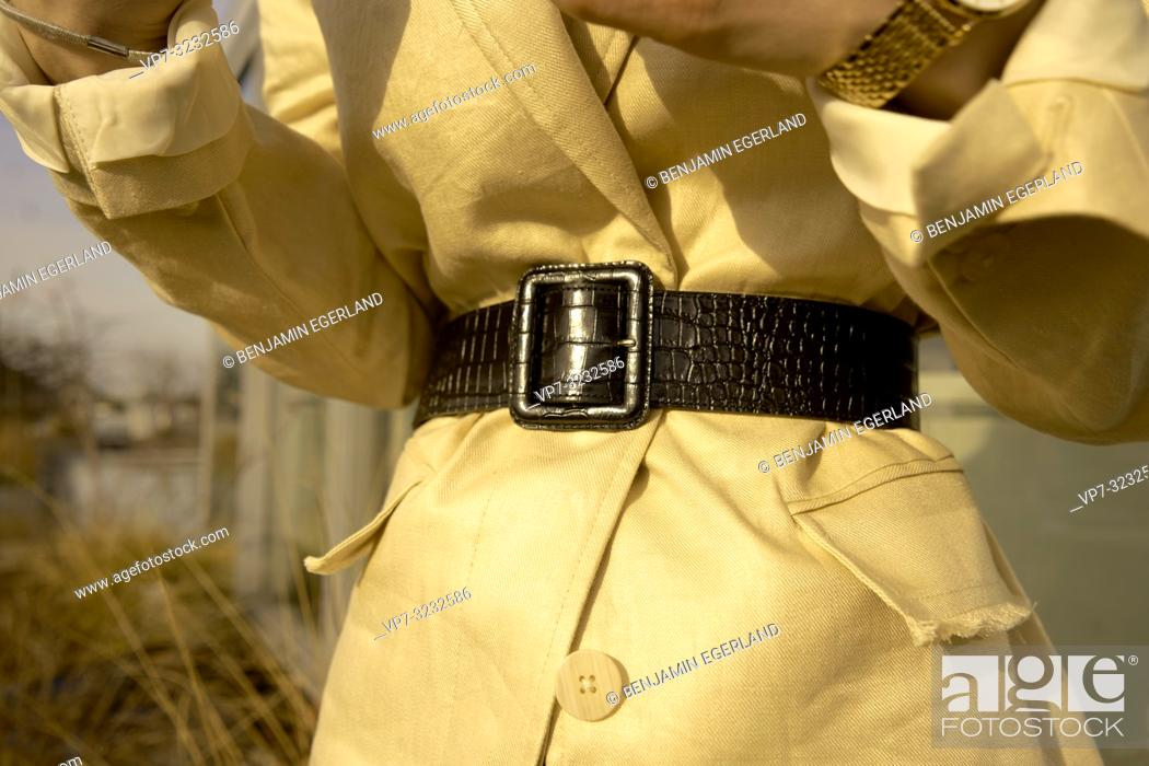 Stock Photo: closeup of belt of fashionable blogger woman, in Munich, Bavaria, Germany.