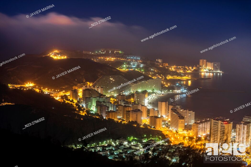 Stock Photo: Night view of Cullera, Valencia, Spain.