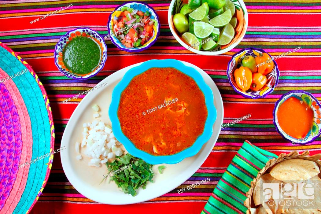 Stock Photo: Pancita mondongo mexican soup varied chili sauces Mexico food.