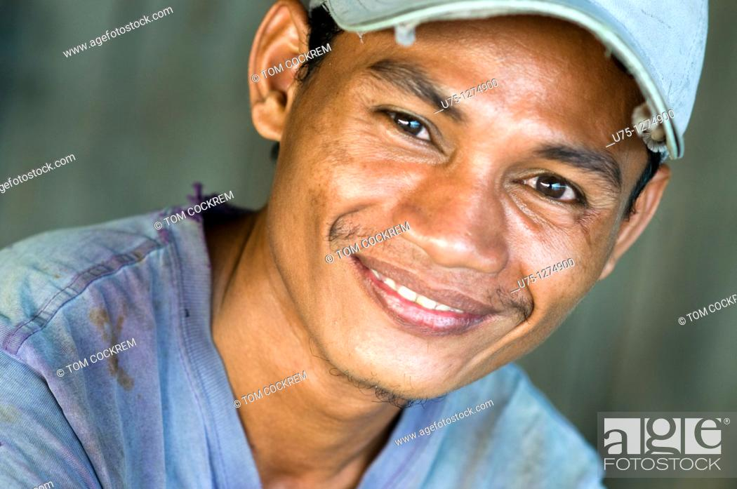 Stock Photo: Man at Stung Hao fishing port, Sihanoukville, Cambodia.