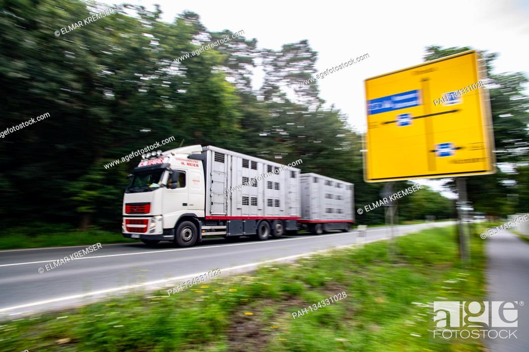 Stock Photo: A cattle truck drives to the headquarters of the Toennies group in Rheda-Wiedenbrueck on July 27th, 2020.  | usage worldwide.