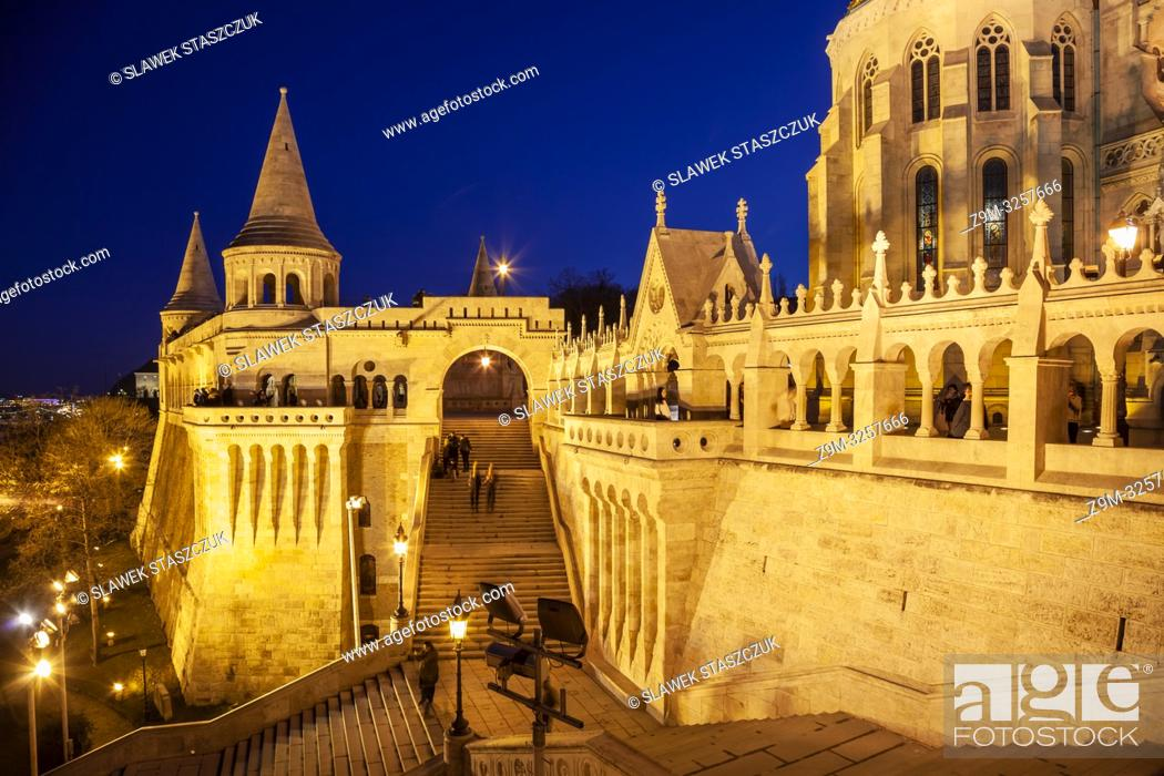 Stock Photo: Evening at Fishermen's Bastion in the Castle District of Budapest, Hungary.
