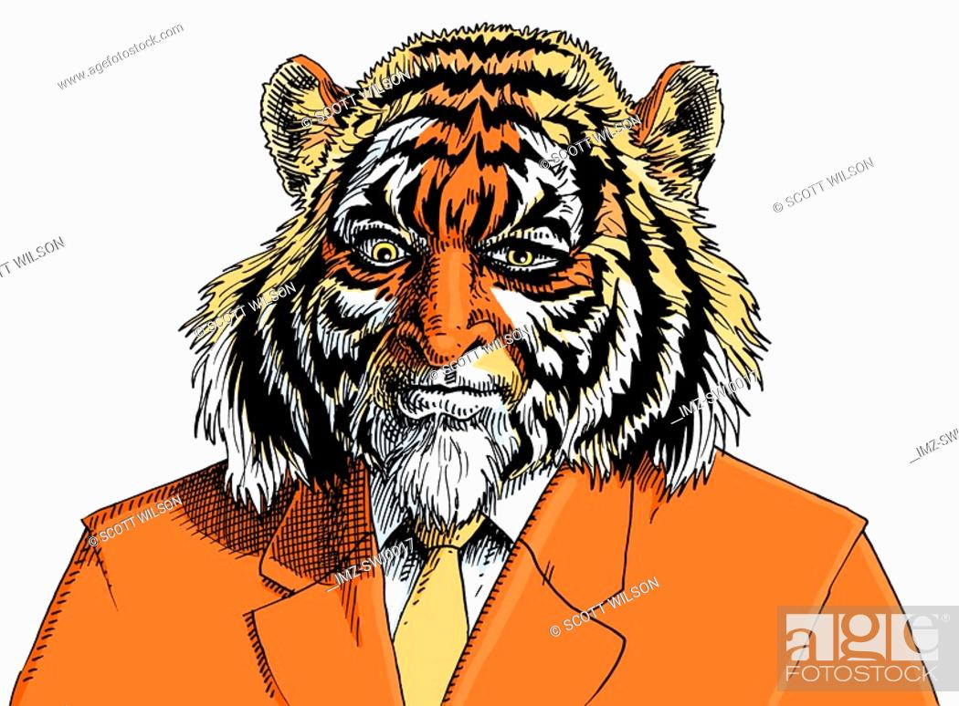 Stock Photo: An illustration of a lion wearing an orange business suit and tie.