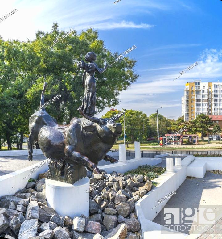 Stock Photo: Odessa, Ukraine - 10. 20. 2018. Abduction of Europa Monument in Odessa, Ukraine.