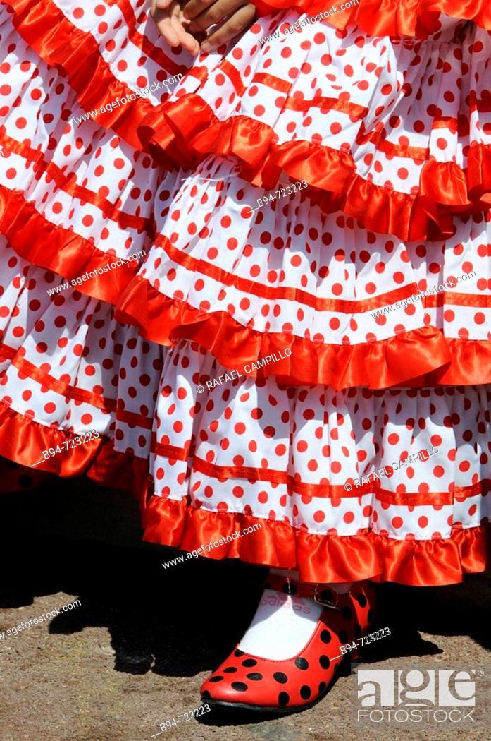Stock Photo: Typical dress in the Feria de Abril (April fair), Barcelona. Catalonia, Spain.