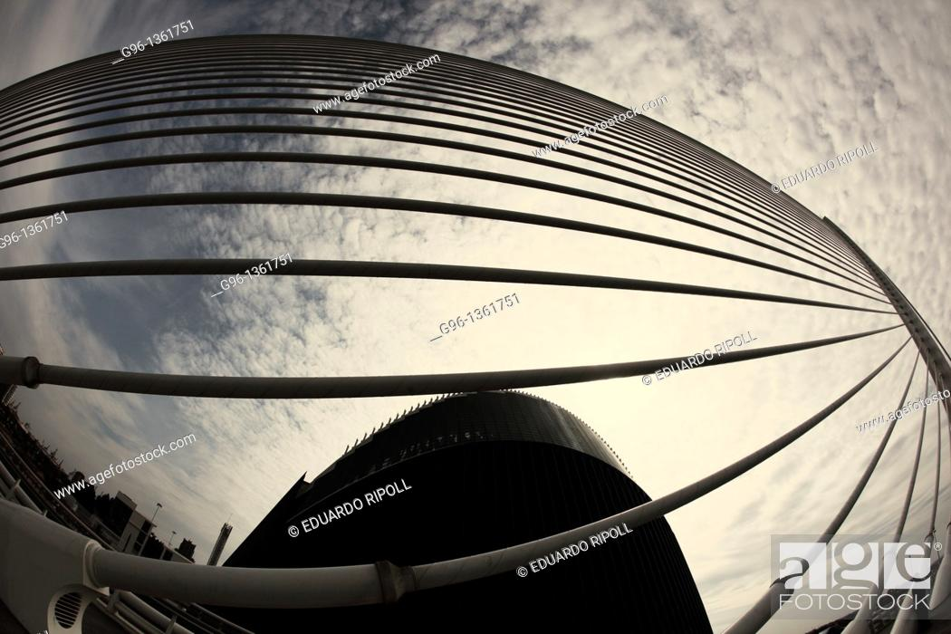 Stock Photo: L'Assut de l'Or bridge by Santiago Calatrava, Valencia, Spain.