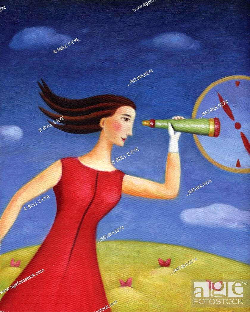 Stock Photo: A woman looking through a telescope at a clock dial.