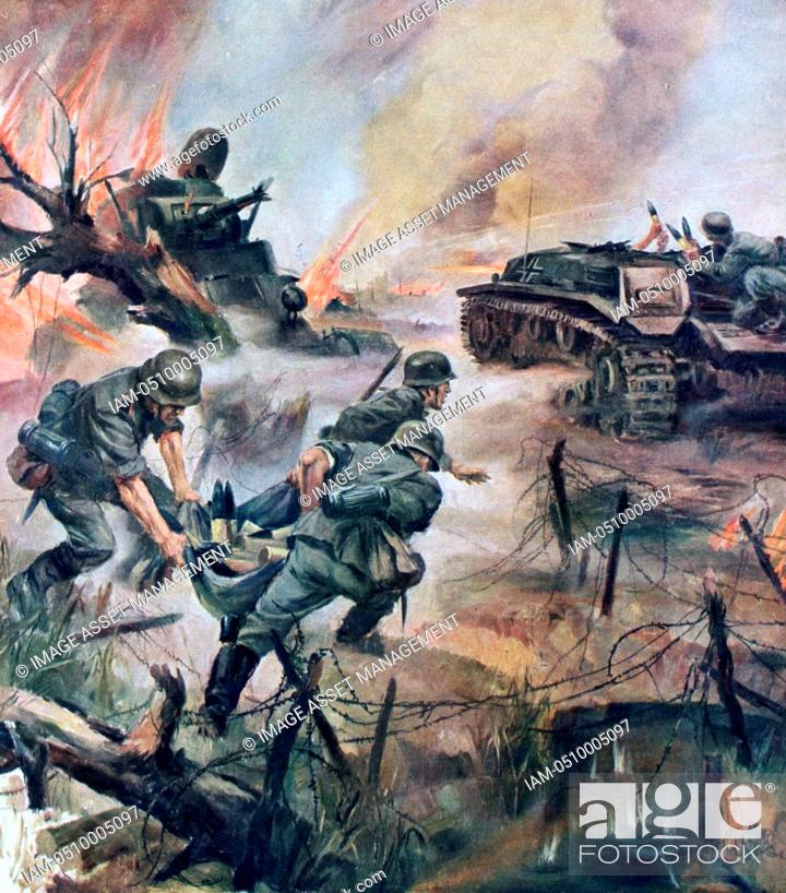 World War II 1939-1945: Scene in the German lines during a tank