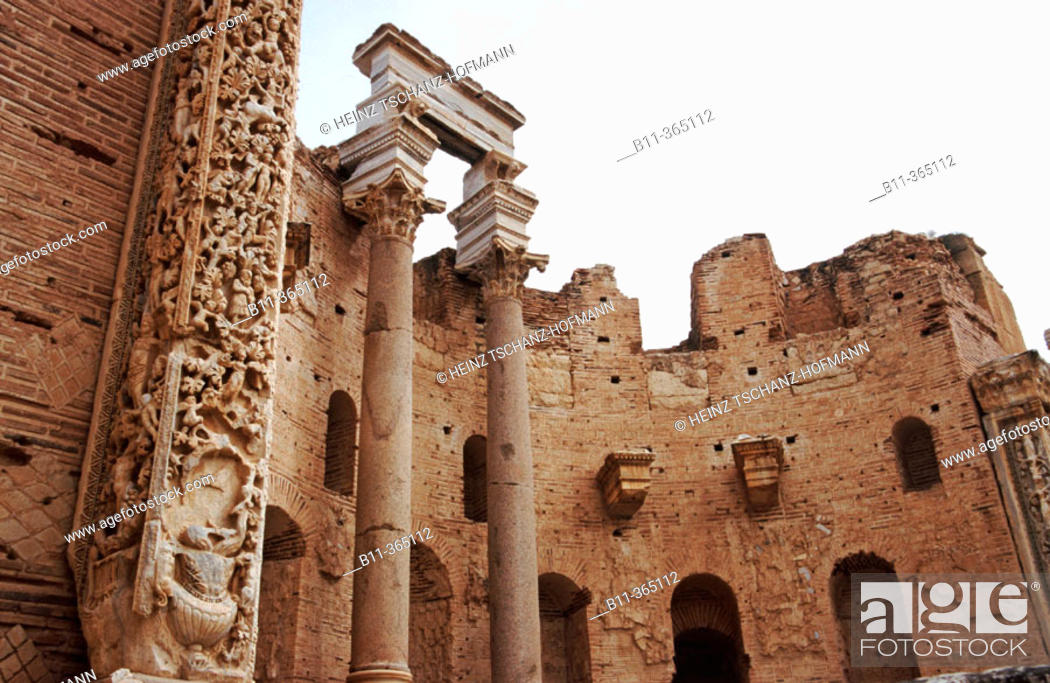 Stock Photo: Lybia: Leptis Magna was enlarged and embellished by Septimius Severus, who was born there and later became emperor. It was one of the most beautiful cities of.